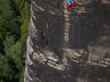 "Stefan Giron klettert im ""Rudolf-Fehrmann-Gedächtnisweg"" am Bloszstock"