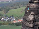 Manuel in der Rinnenfolge des Herbstweges an der nördlichen Pfaffenschluchtspitze